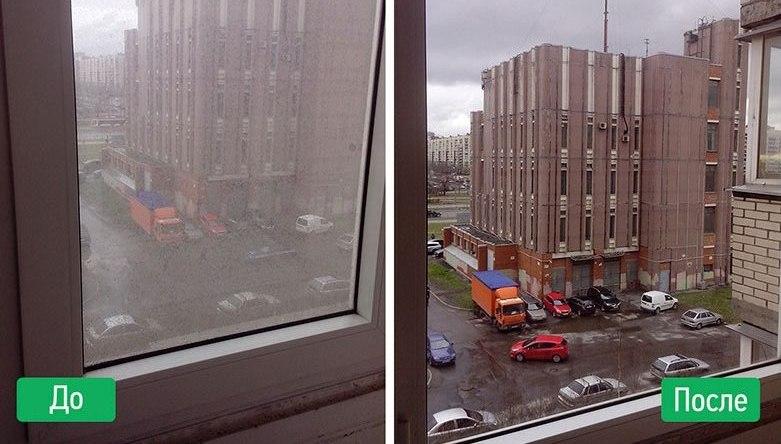 Фото уборка до и после мойка окон